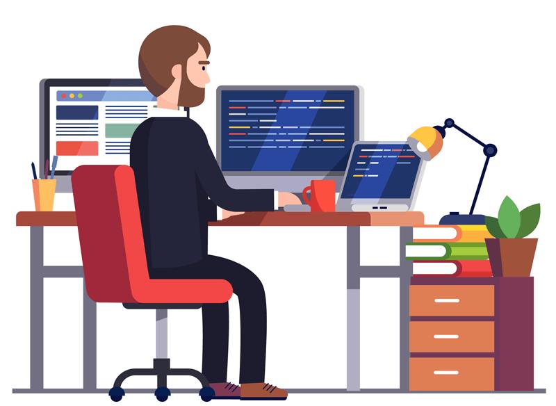 Illustration of a Web Designer completing a Web Design